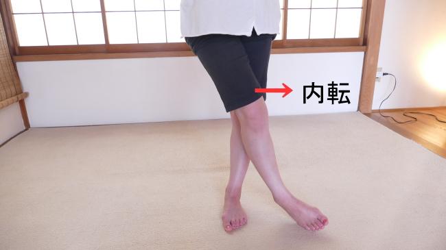 内転する股関節の動き