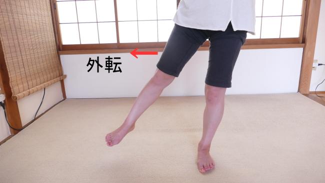 外転する股関節の動き